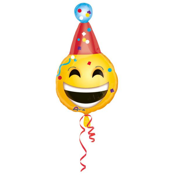 Emoji mit Partyhut Folienballon 35 X 63 cm