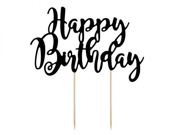 Cake Topper Black Happy Birthday