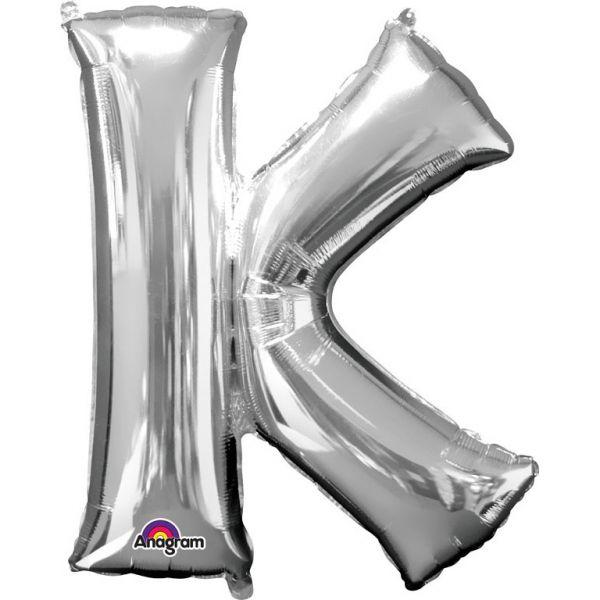 Buchstabe Silber - K Folienballon 66 X 83 cm