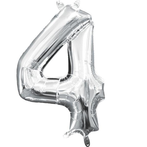 Mini Zahl Silber - 4 Folienballon 22 X 35 cm