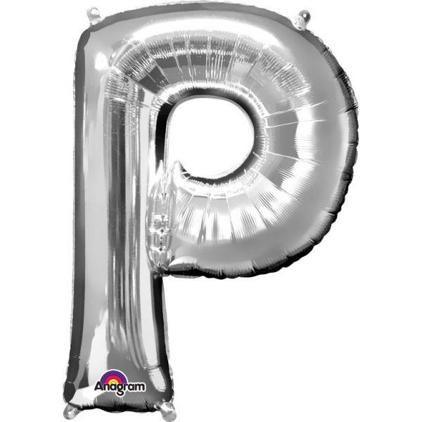 Mini Buchstabe Silber - P Folienballon 22 X 33 cm