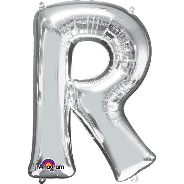 Buchstabe Silber - R Folienballon 58 X 81 cm