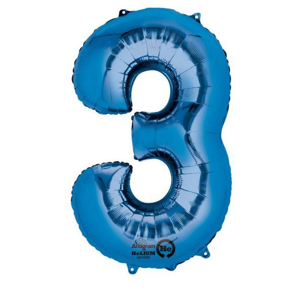 Zahl Blau - 3 Folienballon 53 X 88 cm