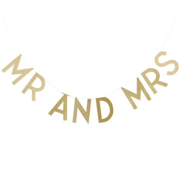 Gold Glitter Mr & Mrs Bunting Pastel Perfection