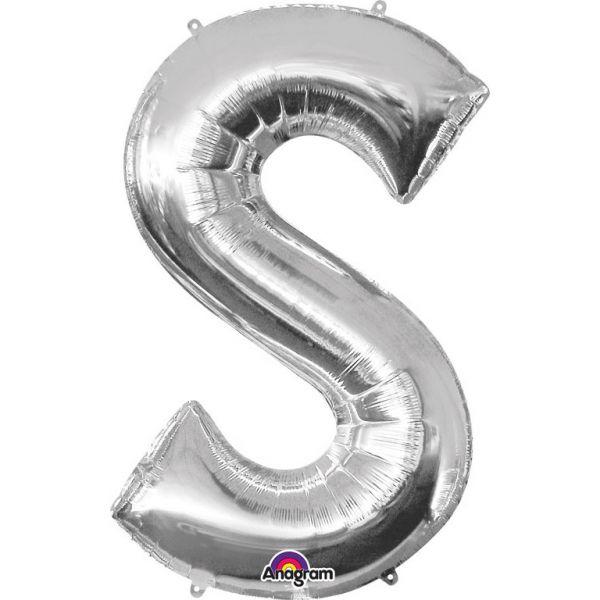 Buchstabe Silber - S Folienballon 53 X 88 cm