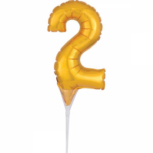 Cake Topper Gold Zahl 2 Air-Filled