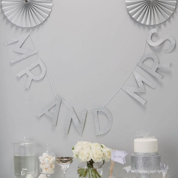 Silber Glitter MR & MRS Wedding Banner