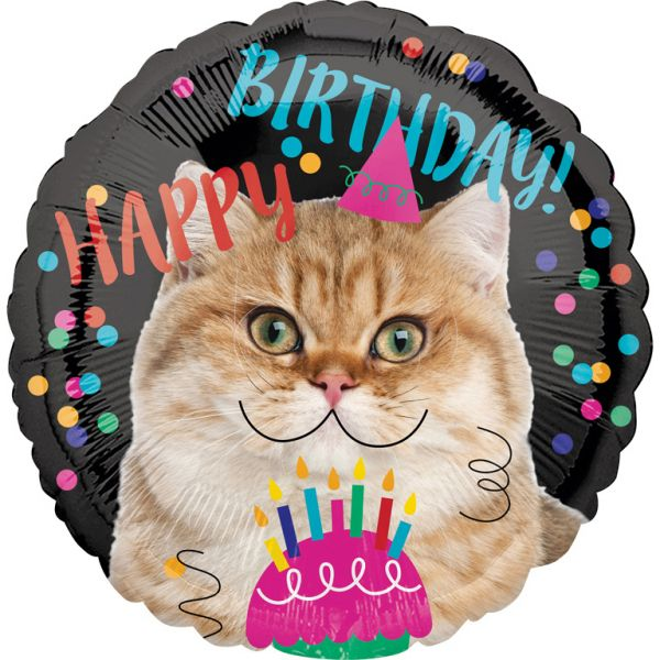 Happy Birthday Cat Folienballon 43 cm