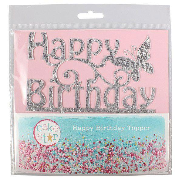 Cake Topper Happy B-Day mit Schmetterling