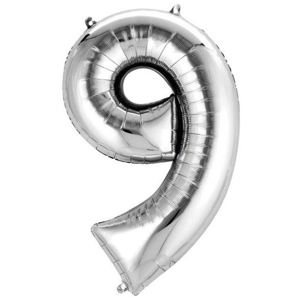 Zahl Silber - 9 Folienballon 63 X 86 cm