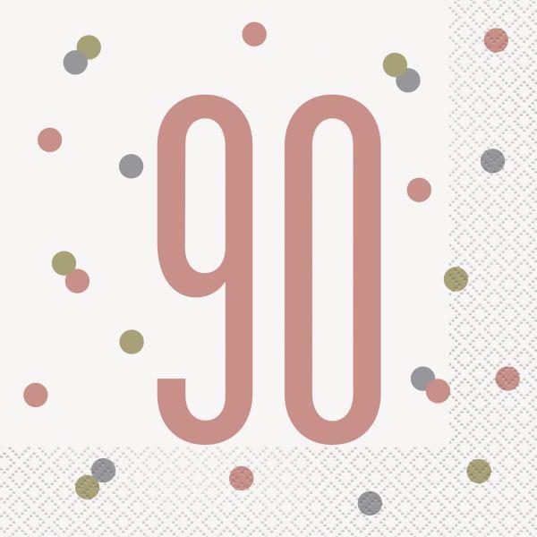 Birthday Glitz Rosegold Servietten 90