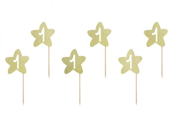 1St Birthday Cupcake Topper Gold/6