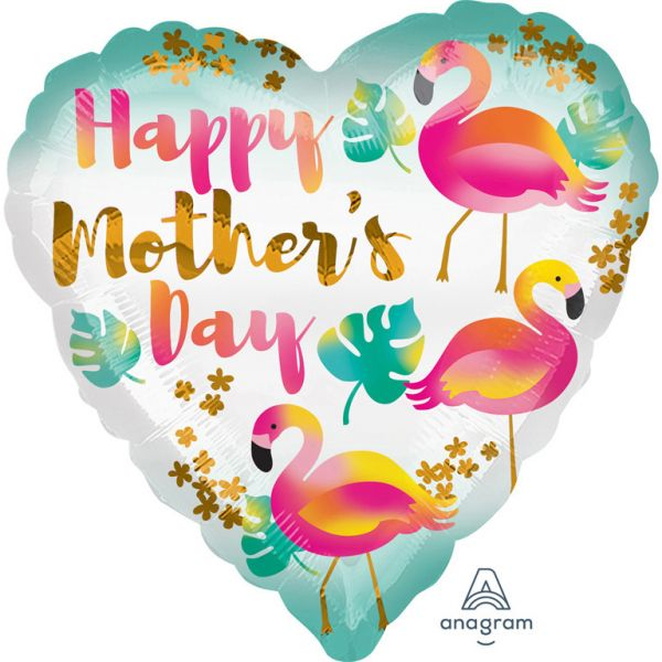 Mothers Day Flamingo Herz Folienballon 43cm