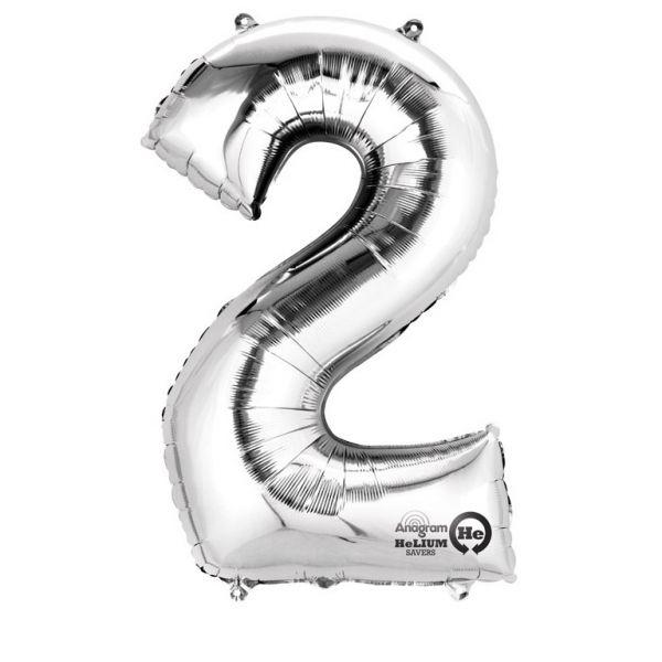 Zahl Silber - 2 Folienballon 50 X 88 cm