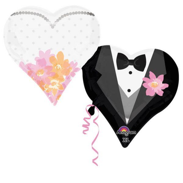 Hochzeit 2 Herzen Folienballon 76 X 63 cm