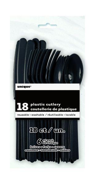 Plastikbesteck 18-teilig Midnight Black