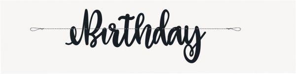 Happy Birthday Banner Schwarz