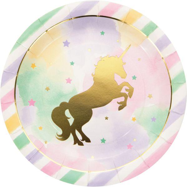 Unicorn Sparkle Foil Teller/8