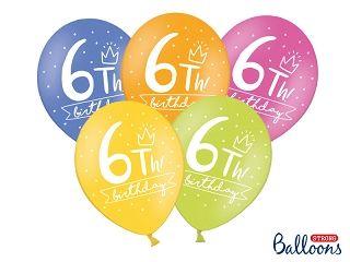 Ballon Happy Birthday 6 th Pastel Mix 30 cm/6