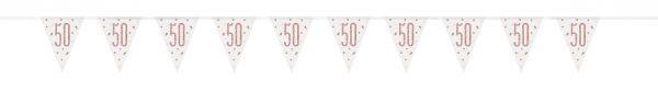Birthday Glitz Rosegold Wimpelkette 50