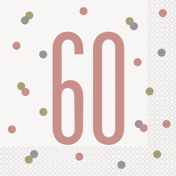 Birthday Glitz Rosegold Servietten 60
