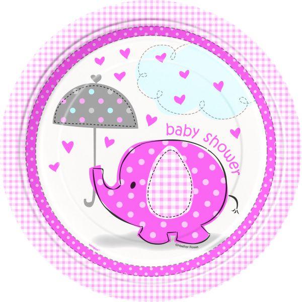 Umbrellaphants Pink 8 Pappteller 23 cm