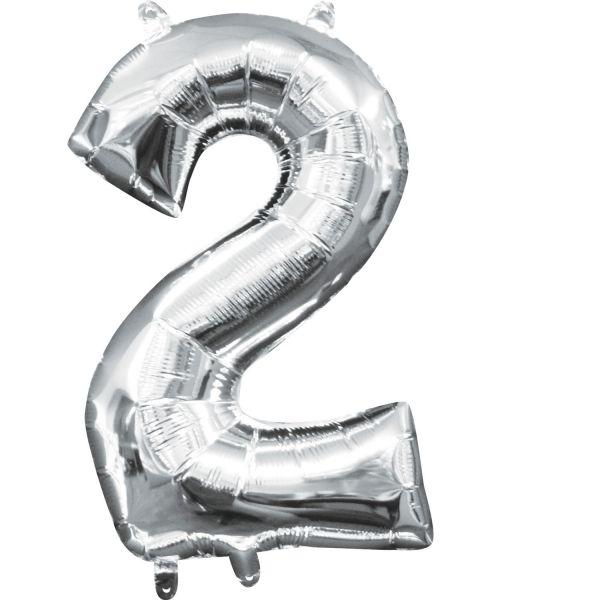 Mini Zahl Silber - 2 Folienballon 20 X 33 cm
