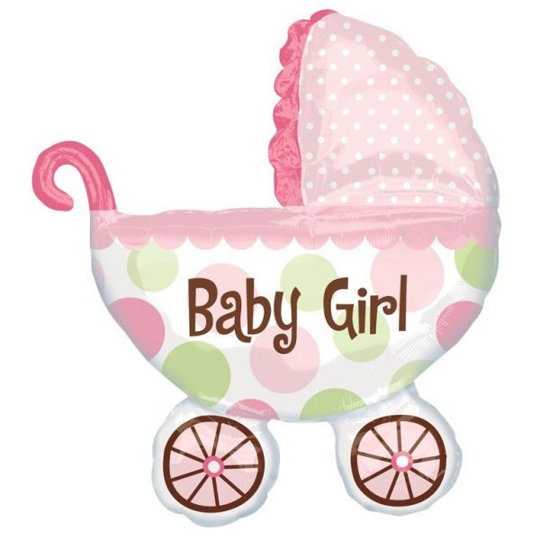 Baby Buggy Girl Folienballon 71 X 79 cm