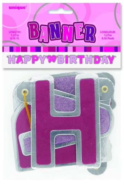 Happy B-Day Banner Pink