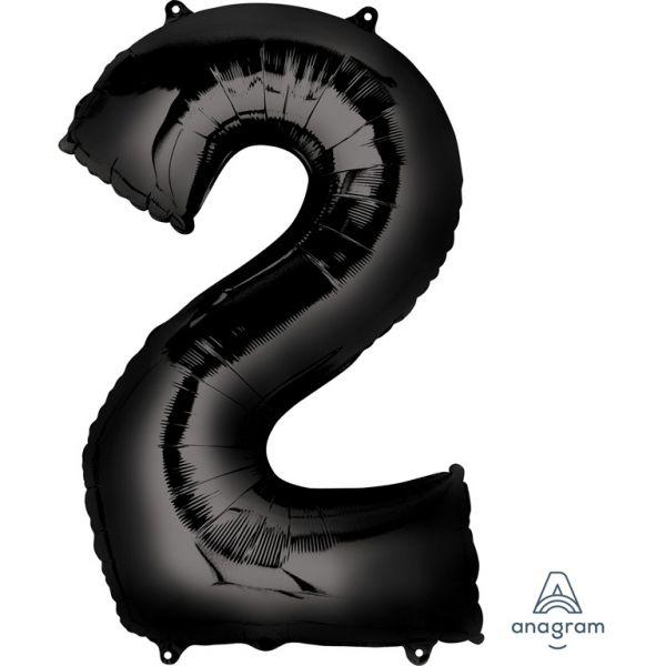 Zahl Schwarz - 2 Folienballon 55 X 83 cm