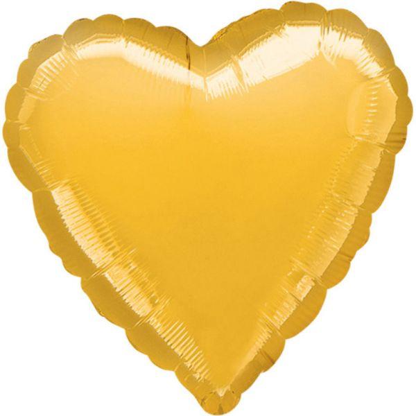 Herz Metallic Gold Folienballon 43 cm
