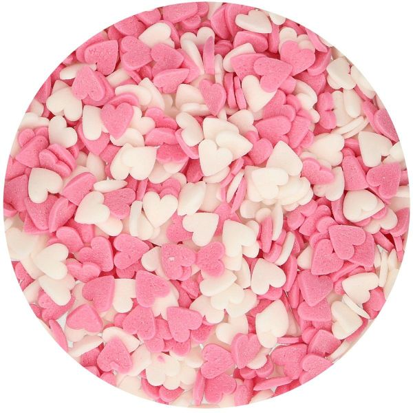Streudekor Herzen Rosa/Weiß