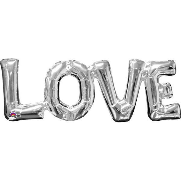 Love Silber Schriftzug Folienballon 63 X 22 cm