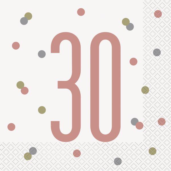 Birthday Glitz Rosegold Servietten 30