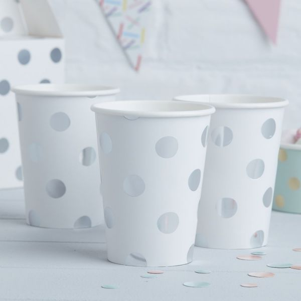 Silver Foiled Polka Dot Paper Cups - Pick And Mix
