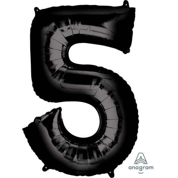 Zahl Schwarz - 5 Folienballon 58 X 83 cm
