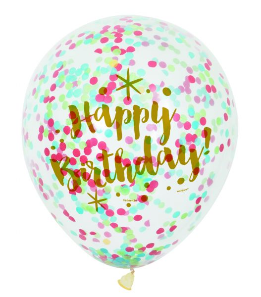 Mix Confetti-Ballon Happy B-Day Gold-Clear 30 cm - 6 Stk
