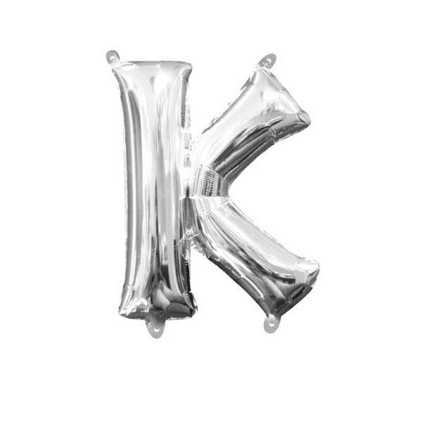 Mini Buchstabe Silber - K Folienballon 25 X 33 cm