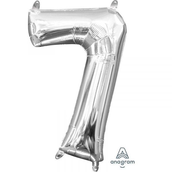 Mini Zahl Silber - 7 Folienballon 22 X 35 cm
