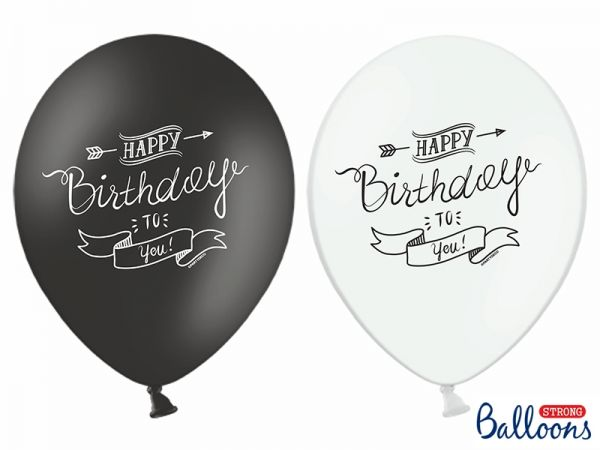 Ballon Happy Birthday Pastel White-Black 30 cm