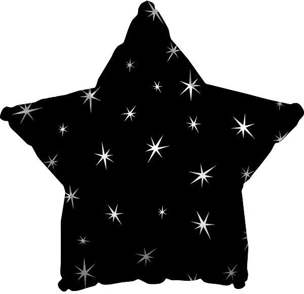 Black Sparkle Star Folienballon 43 Cm