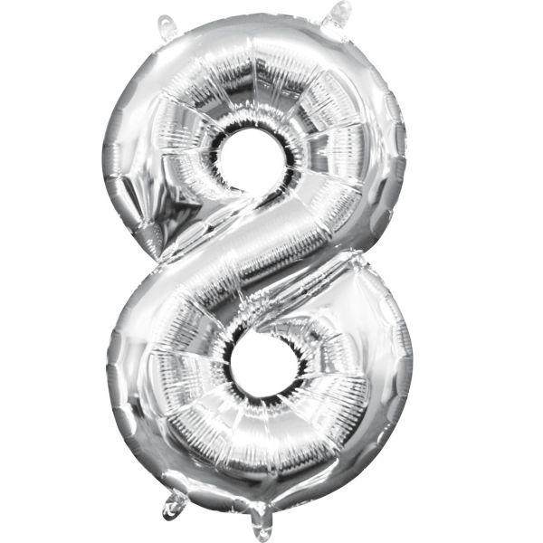 Mini Zahl Silber - 8 Folienballon 20 X 35 cm