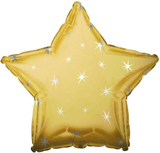 Antique Gold Sparkle Star Folienballon 43 Cm