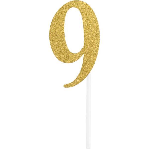 Gold Glitter Birthday Cake Topper 9