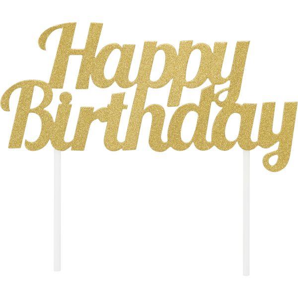 Gold Glitter Happy Birthday Topper