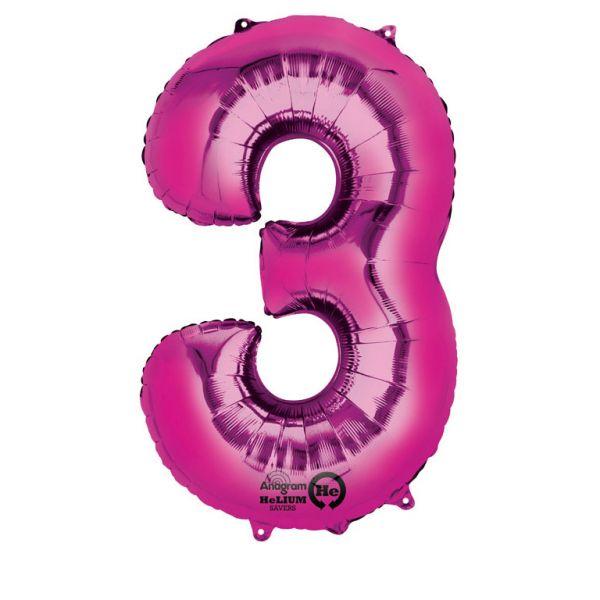 Zahl Pink - 3 Folienballon 53 X 88 cm