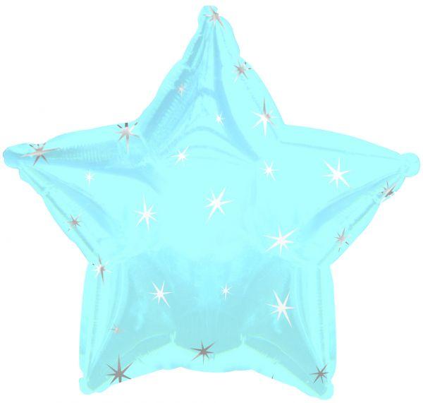 Powder Blue Sparkle Star Folienballon 43 Cm