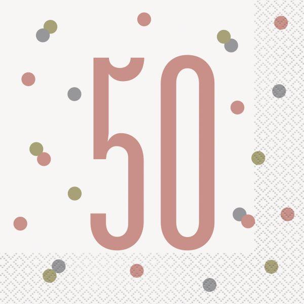 Birthday Glitz Rosegold Servietten 50