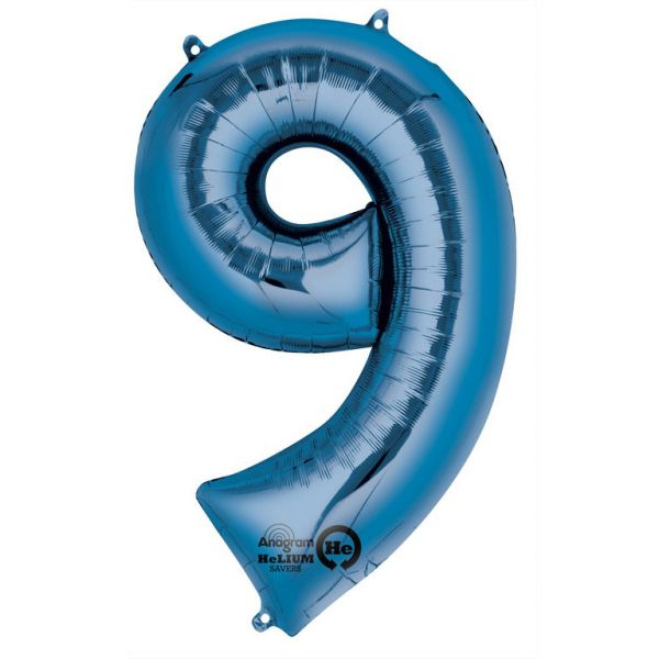 Zahl Blau - 9 Folienballon 63 X 86 cm