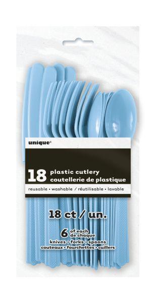 Plastikbesteck 18-teilig Powder Blue